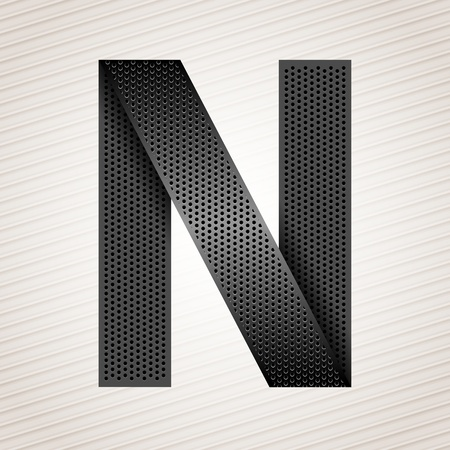 abstract aperture: Letter metal ribbon - N Illustration