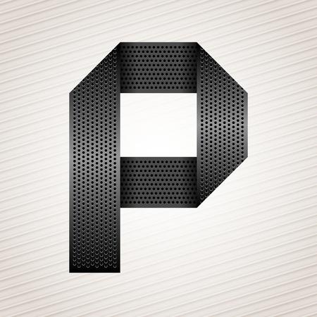 Letter metal ribbon - P Stock Vector - 13290905