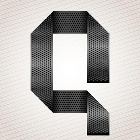 Letter metal ribbon - Q Stock Vector - 13290908