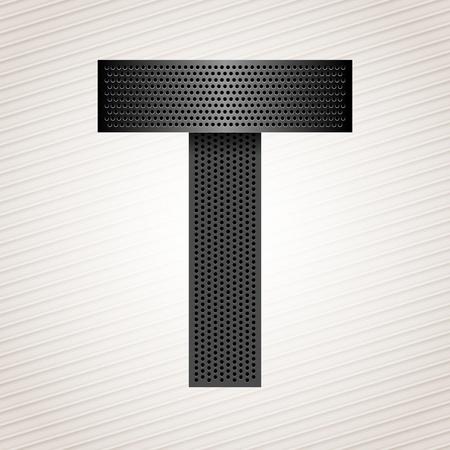 Letter metal ribbon - T Stock Vector - 13290896