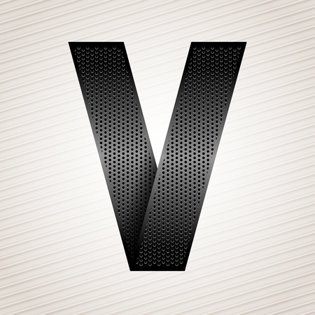 Letter metal ribbon - V Vector