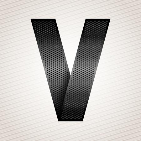 perforation tape: Letter metal ribbon - V