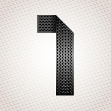 orifice pattern: Number metal ribbon - 1 - one Illustration