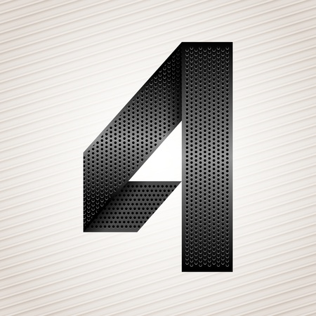 Number metal ribbon - 4 - four Vector