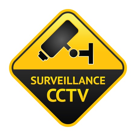 CCTV sign, video surveillance label Vector