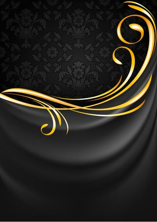 Dark gray fabric curtain background  Gold vignette Vector