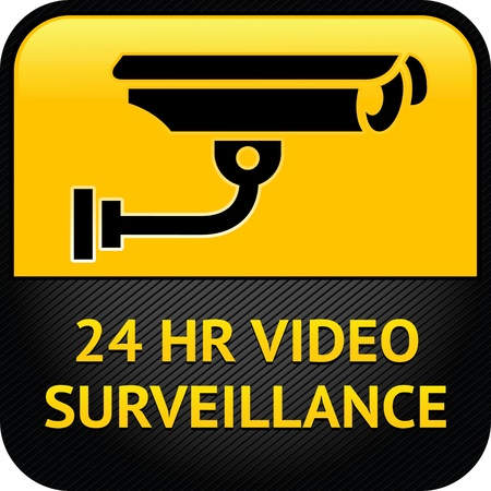 video surveillance: Video surveillance sign, cctv sticker Illustration