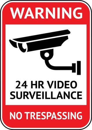 観察: ビデオ監視、cctv のラベル  イラスト・ベクター素材
