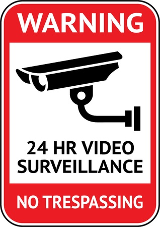 Video surveillance, cctv label Vector