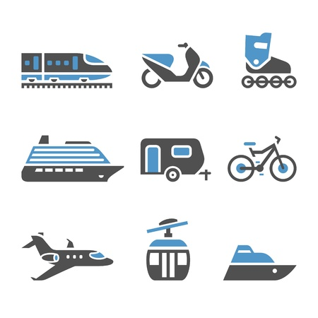 airplane landing: Transport Icons - A set of fifth