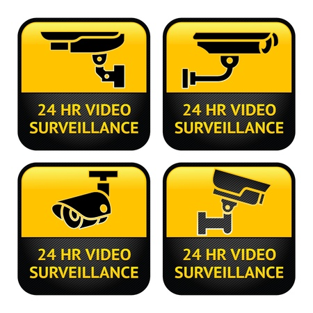 Set Warning Stickers for Security Alarm CCTV Camera Surveillance Vector