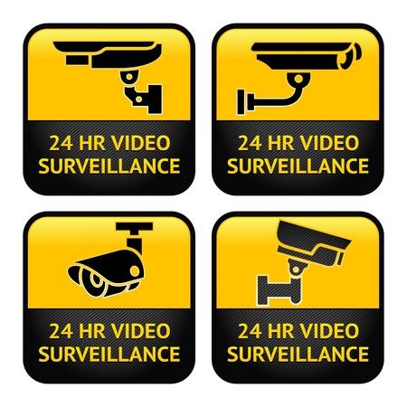 Stel Waarschuwing Stickers voor Veiligheid Alarm CCTV camerabewaking Vector Illustratie