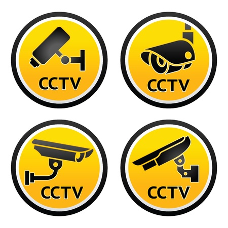 cctv: Security camera pictogram, set CCTV signs