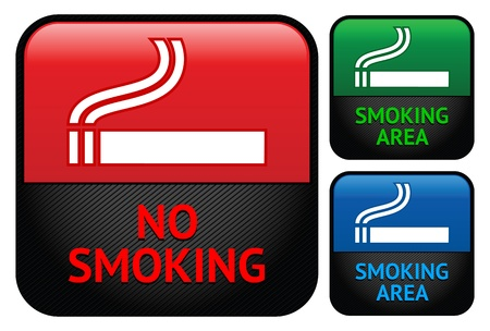 pictogram attention: Labels set - No smoking area stickers