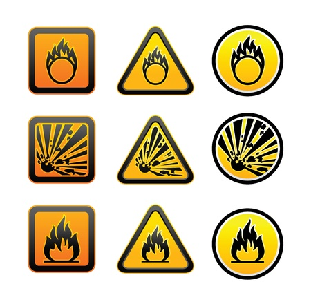 combustible: Hazard warning symbols set