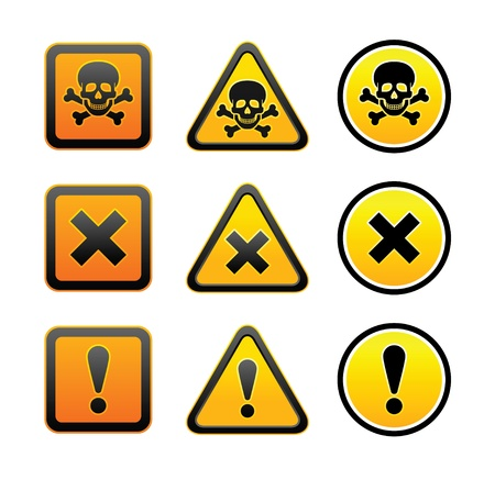 Hazard warning symbols, set Vector