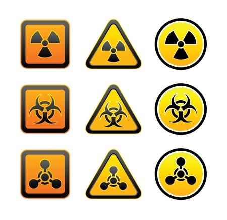 riesgo quimico: Establecer los símbolos de peligro de radiación de alerta Vectores