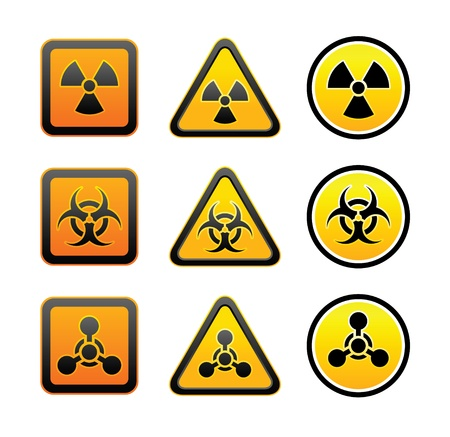 caution chemistry: Set hazard warning radiation symbols Illustration