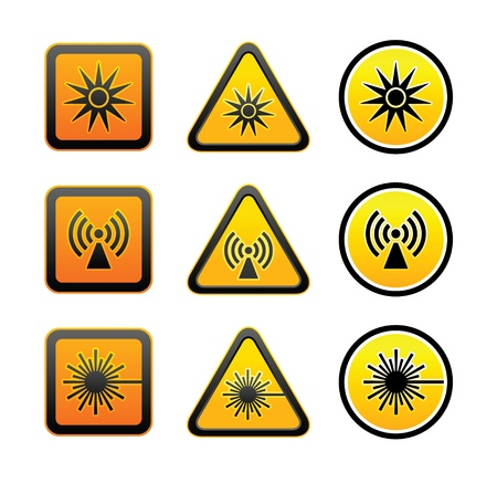 Set hazard warning symbols Stock Vector - 13725811