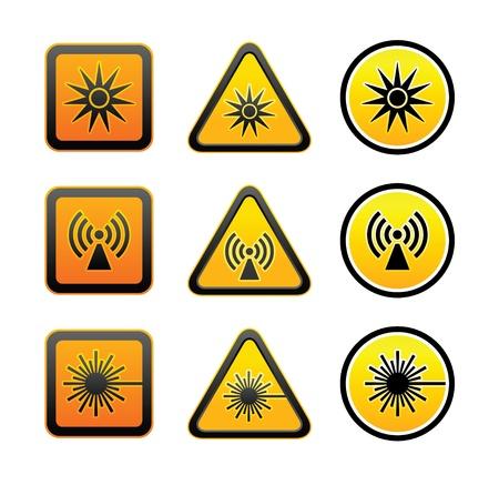 ionizing radiation risk: Set hazard warning symbols
