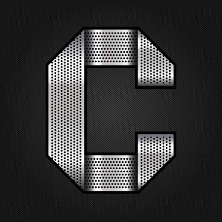 letras cromadas: Carta de metal cromado de la cinta - C