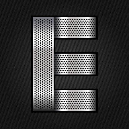 letras cromadas: Carta de metal cromado de la cinta - E Vectores