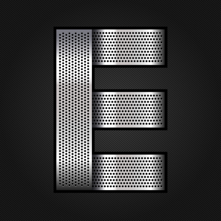 Letter metal chrome ribbon - E Vector