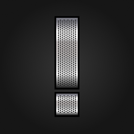 punched metal surface: Letter metal chrome ribbon - Exclamation mark