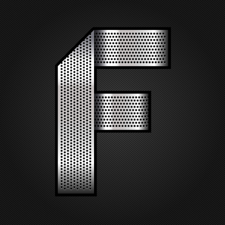 punched metal surface: Letter metal chrome ribbon - F Illustration