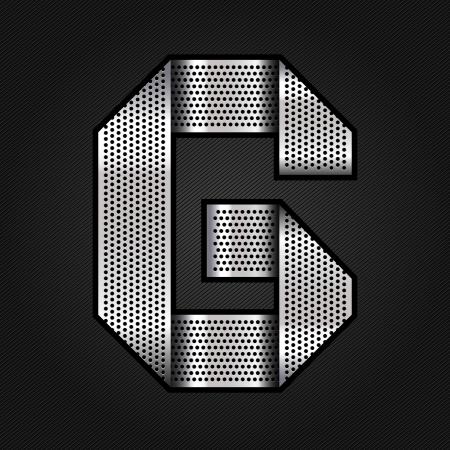 Letter metal chrome ribbon - G Vector