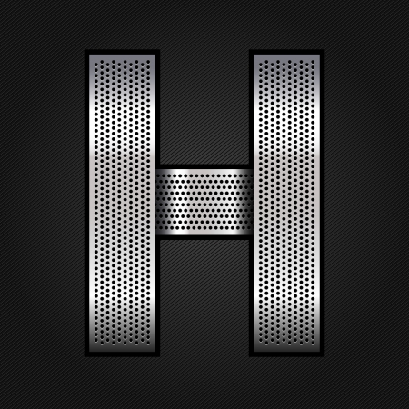 Letter metal chrome ribbon - H Vector