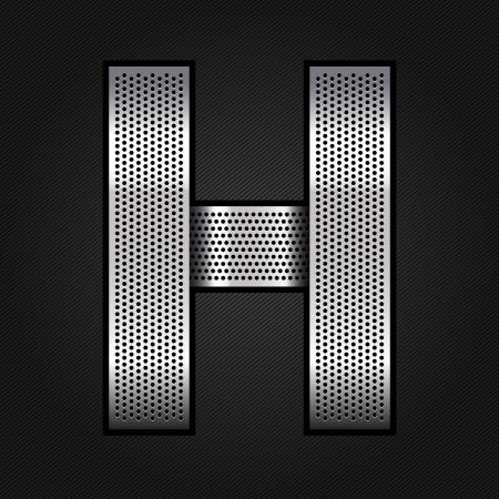 Letter metal chrome ribbon - H