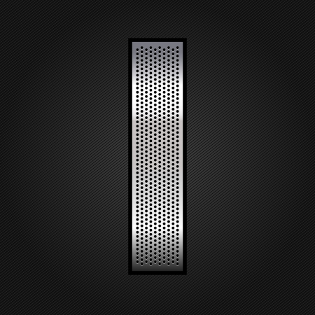 punched metal surface: Letter metal chrome ribbon - I Illustration