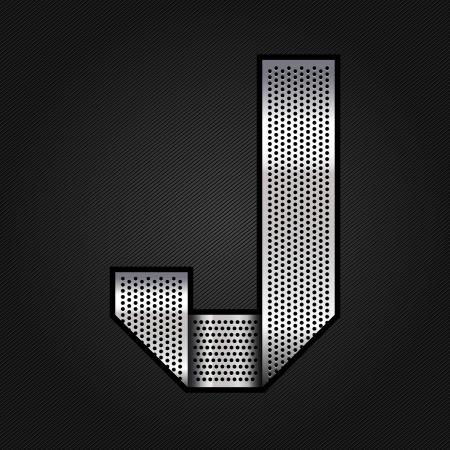 metallic tape: Letter metal chrome ribbon - J