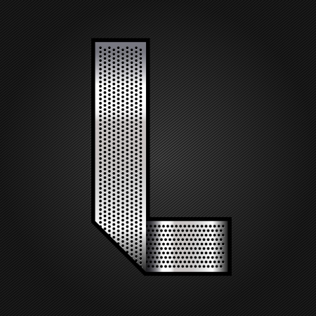 Letter metal chrome ribbon - L Vector