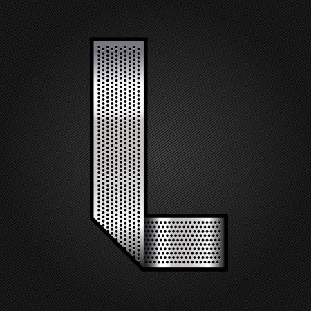 Letter metal chrome ribbon - L Stock Vector - 13823571
