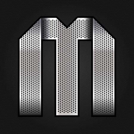 Letter metal chrome ribbon - M Stock Vector - 13823633