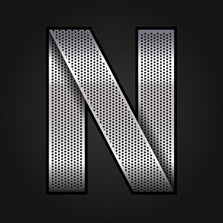 letter n: Letter metal chrome ribbon - N
