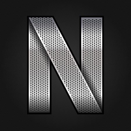 Letter metal chrome ribbon - N Stock Vector - 13823622
