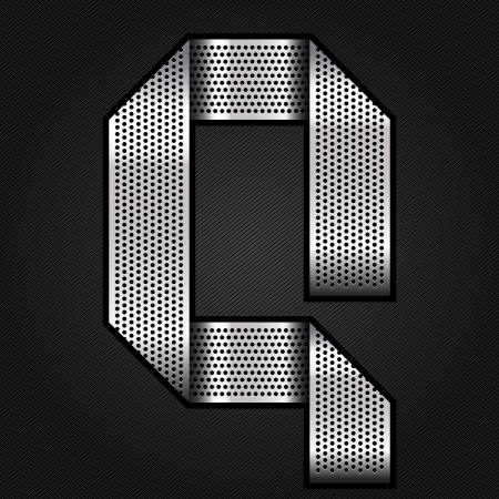 Letter metal chrome ribbon - Q Stock Vector - 13823632