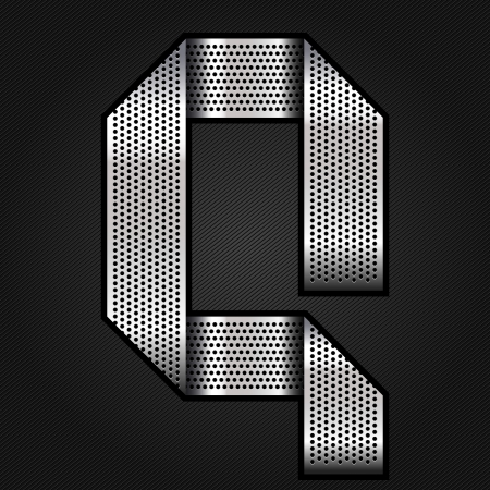Letter metal chrome ribbon - Q Vector