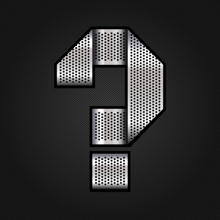 punched metal surface: Letter metal chrome ribbon - Question mark Illustration