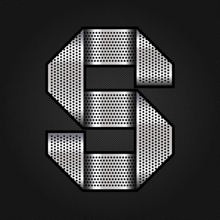 letras cromadas: Carta de metal cromado de la cinta - S