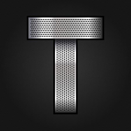 perforation tape: Letter metal chrome ribbon - T