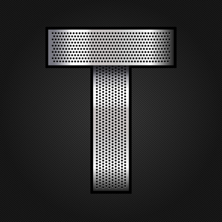 Letter metal chrome ribbon - T Stock Vector - 13823581