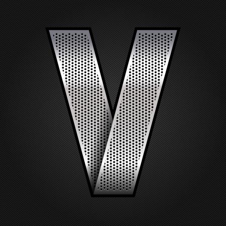 letter v: Letter metal chrome ribbon - V Illustration