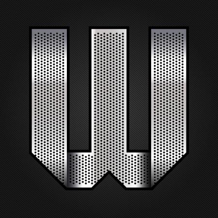 letras cromadas: Carta de metal cromado de la cinta - W