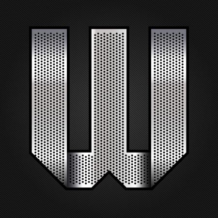 letter w: Letter metal chrome ribbon - W Illustration
