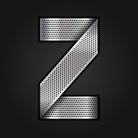 punched metal surface: Letter metal chrome ribbon - Z