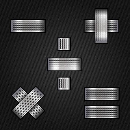 signos matematicos: Carta de metal cromado de la cinta - Matem�ticas signos Vectores